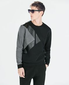 Image 1 of SWEATSHIRT WITH FAUX LEATHER DETAILS from Zara