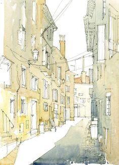 Narrow Street, Rovinj, Croatia Watercolour on Board www.nickhirst.co.uk