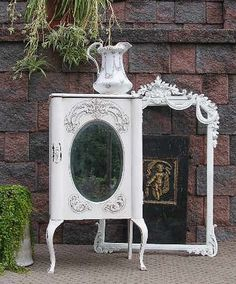 Shabby OVAL MIRROR Chic Music LINEN Cabinet Cupboard