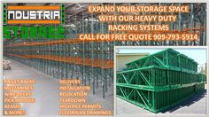 More than 25 years of experience in custom design in warehouse storage and building, We have a wide variety of pallets, pallet flow racks , push back racks, mezzanines and much more, we fabricate our own materials and racking systems, for a free quote give us a call at 909-793-5914 www.industrialstoragesolutionsinc.com