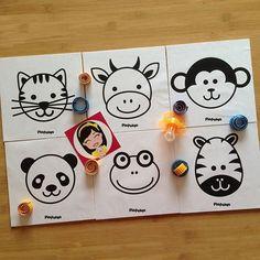 """"""" Pia Polya İlk Kartlarım"""" Kedi - İnek - Maymun - Panda - Kurbağa - Zebra  03 -12 ay bebekler için. A4"""