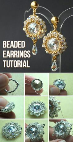Bead weaved earrings tutorial / Плетем из бисера нарядные серьги с кристаллами