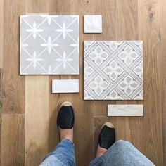 Finalizing tiles for our project. It's hard to see in the photo, but the white subway tile has the prettiest texture! Modern Country Style, Country Style Homes, White Subway Tiles, Highland Homes, Neutral Palette, Cozy House, White Walls, Kids Rugs, Flooring
