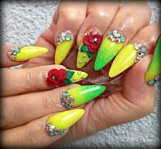 Nails pointed green