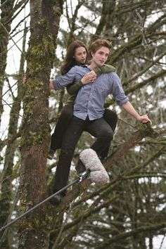 Kristen Stewart with a flying vampire called Rob Patterson