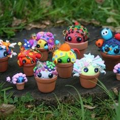 Clay flower pot monsters.... They are just sooooo damn cute
