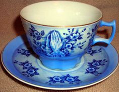 Cup And Saucer Set Blue With Praying Hands : Vintage Collectibles Back Issue Magazines Old Books Postcards Ephemera