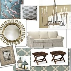 Coastal living room design board. French style decor mixed in with blue, gray and white colors to create a relaxing space.