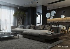 A Dark and Calming Bachelor Pad with Natural Wood and Concrete | Interior Design Ideas | Bloglovin'