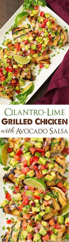 Grilled Cilantro Lime Chicken with Avocado Salsa - easy to prepare, healthy, ama. - Grilled Cilantro Lime Chicken with Avocado Salsa - easy to prepare, healthy, ama. Paleo Recipes, Mexican Food Recipes, New Recipes, Dinner Recipes, Cooking Recipes, Recipies, Summer Recipes, Grill Recipes, Cooking Games
