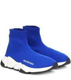 Opt for a streamlined, sporty silhouette with Balenciaga's Speed Trainer sneakers. Working a sock silhouette, this close-fitting knit design comes in an electric blue hue offset by a contrasting chunky sole, which is super . Blue Sneakers, Blue Shoes, Shoes Sneakers, Blue Trainers, Sock Shoes, Shoe Boots, Shoes With Leggings, Basket Style, Balenciaga Sneakers