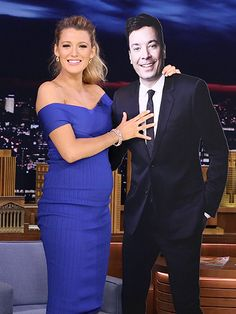Before schooling him at Harry Potter trivia, Blake Lively poses with a cardboard cutout of Jimmy Fallon during her appearance on The Tonight Show on Monday, June 20/16.