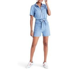 Women's Madewell Denim Zip Romper (405 BRL) ❤ liked on Polyvore featuring jumpsuits, rompers, milner wash, denim romper, playsuit romper, white romper, madewell and white rompers