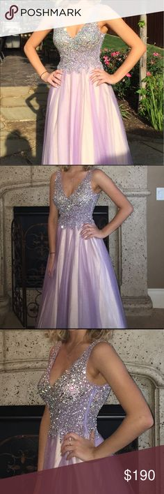 Lavender Prom Dress lavender colored prom dress. i only wore it once & there are no stains or tears. around a size 2, as it was hemmed. the top is an assortment of sparkles. really pretty... wish i had somewhere to wear it to haha. feel free to make an offer because my mom wants me to get rid of it asap lol Dresses Prom