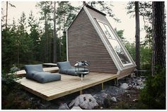 micro cabin in the woods