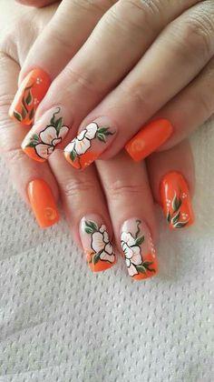 Orange Zebra Nails, Leopard Print Nails, Neon Nails, Nail Art Tribal, Dot Nail Art, Peach Nails, Orange Nails, Winter Nails, Summer Nails