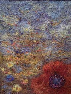 #95 Poppy on Blue by Deebs Fiber Arts, via Flickr