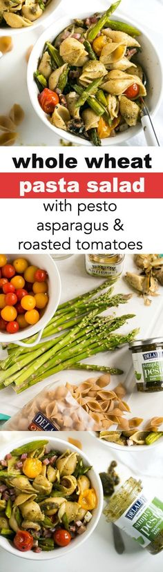 Whole Wheat Pasta Salad with Pesto, Asparagus and Roasted Tomatoes - A ...