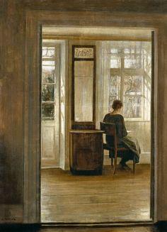 Bild:  Carl Holsoe - Lesend am Fenster