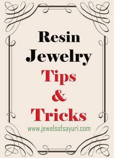 DIY resin jewelry tips and tricks. I love a lot of this jeweler's pieces, so I'm super excited to see some of her secrets!