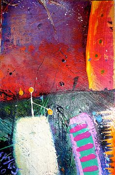 """'Red Hot Night' Mixed media on paper, 10"""" h (25.5cms) x 8.5"""" w (21.5cms ) Linda Styles 2010"""