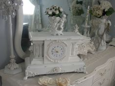 Antique Vintage White Cherub Rose Mantel Clock w Lions Head