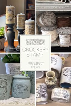 Craft projects and decor ideas that you can make using your IOD Crockery stamp. Make antique English advertisement pots, DIY candle labels and more! Diy Home Decor Projects, Craft Projects, Decor Ideas, Diy Ideas, Craft Ideas, Rustic Farmhouse Decor, Farmhouse Style, Modern Farmhouse, Aberdeen