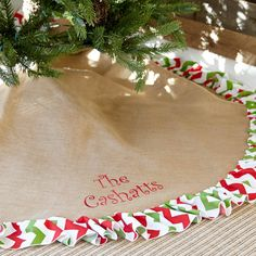 Burlap Red Green Chevron Christmas Tree Skirt