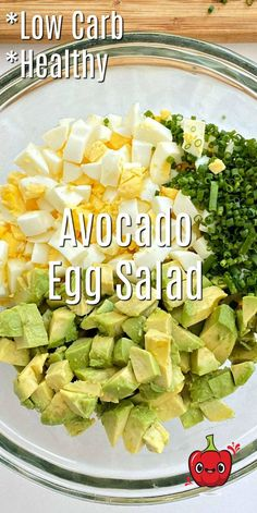 Healthy Egg Salad, Easy Egg Salad, Avocado Egg Salad, Healthy Meal Prep, Healthy Salad Recipes, Diet Recipes, Healthy Snacks, Vegetarian Recipes, Healthy Eating
