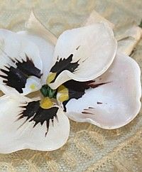 antique french glass pansy flower dish