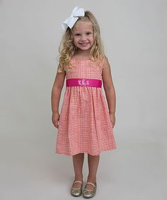 Tangerine Gingham Monogram A-Line Dress - Infant Toddler & Girls