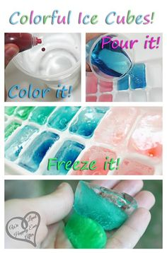 Colorful Party Ice Cubes. Try using Natural Food Coloring, like Nature's Flavors natural food coloring.  http://www.naturesflavors.com/baking/baking/food-colors/natures-flavours-rainbow-pack-of-natural-colors-liquid