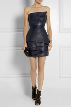 Balmain|Leather mini dress|NET-A-PORTER.COM