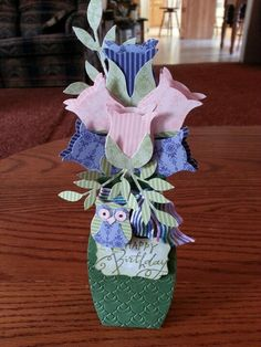Vase of roses using owl punch from Stampin Up!!