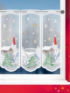 Scheibengardinen Weihnachtsdorf