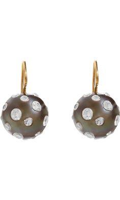 Renee Lewis Diamond Studded South Sea Pearl Earrings discovered on Fantasy Shopper Tahitian Black Pearls, South Sea Pearls, Barneys New York, Diamond Studs, Modern Jewelry, Beautiful Earrings, Pearl Earrings, Gems, Bling