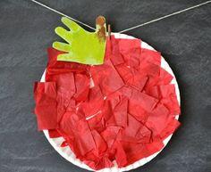 basteln-mit-kindern-unter-3-jahren-herbst-roter-apfel-pappteller