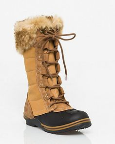 Le Château: Leather & Felt Boot with Faux Fur Trim