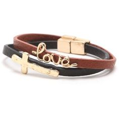 With Love From CA 2 Pack Leather Bracelets ($13) found on Polyvore