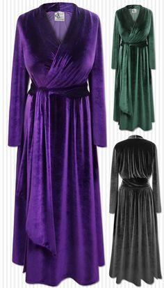 60d57b9dcc Black Purple or Green Smooth Velvet Robe With Attached Belt - Plus Size  Supersize 0x 1x 2x 3x 4x 5x 6x 7x 8x 9x