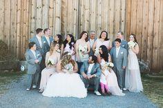 1.4.14 Heather Armstrong Photography. Ponderosa Ridge Ranch Anderson, Ca. Winter Barn Wedding. Grey cream and blush bridal party
