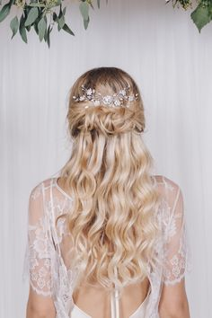 Swarovski silver crystal flower bridal hairvine - Small Sydney - Debbie Carlisle