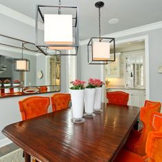 Valspar Notre Dame Soon To Be Dining Room Color  Home Decor - Orange dining room chairs