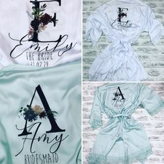AMÉLIE Lace silk bridal robes with floral initial, bridal robe, satin bridesmaid robe with lace arms and bottom, maid of honour robe, weddin Lace Silk, Silk Gown, Bridesmaid Robes, Brides And Bridesmaids, Bride Dressing Gown, Brides Maid Proposal, Amazing Wedding Dress, Bridal Gowns, Wedding Dresses