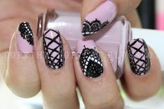 pink and black - delicate lace and corset nails