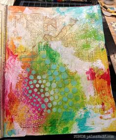 """Ronda Palazzari using the Balzer Designs """"Circle Explosion"""" stencil - I like it just like this before the face is added."""