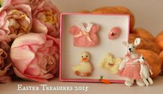Pink Easter Box Set by Jenny Tomkins Baby Accessories, Mice, Dollhouse Miniatures, Artisan, Bunny, Easter, Box, Handmade, Clothes