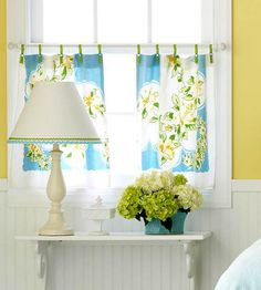 Use old napkins or tablecloth to make curtains in kitchen