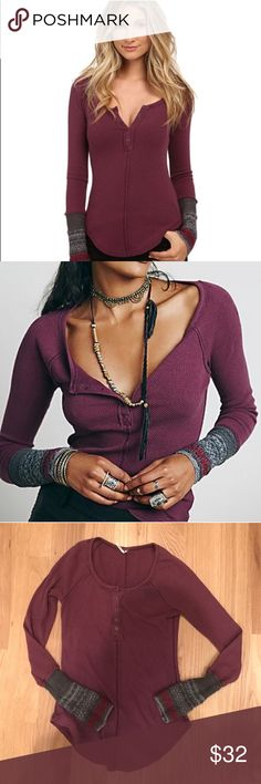 Free People Newbie Ski Lodge Cuff Thermal Top In purple. A slim raglan-sleeve thermal with a henley neckline and contrast-knit cuffs puts a fun, flirty spin on an après-ski staple. Good used condition with normal wear. Free People Tops Tees - Long Sleeve