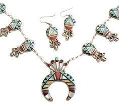 Zuni Squash Blossom Necklace & Dangle Earrings Vintage Tribal Jewelry Native American Southwestern Jewelry Set